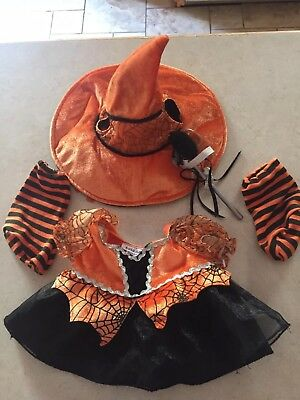 Build A Bear Girl Halloween Witch Orange Black Dress Clothes Accessory Cape Lot