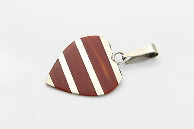 Mexican Sterling Silver Red Stone Striped Heart Pendant