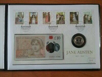 2017 Jane Austen Bicentenary coin and note cover Limited Edition only 250 made