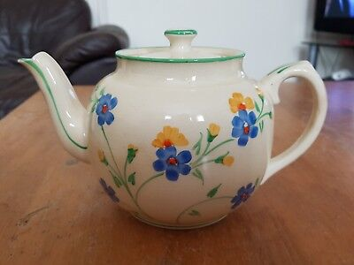 Vintage cream with blue flowers medium 4-6 cups size teapot