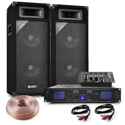 Skytec 2-Way Speakers Pro Pa Sound System Dj Mixer 2 / 3 Channel Mixer & Cable