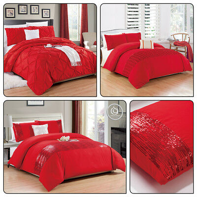 3 Piece Red Handmade Duvet Cover With Pillow Shames Quilt Bedding Set - Pintuck