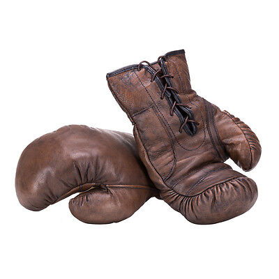 Handmade Dark Brown Vintage Style Leather Boxing Gloves