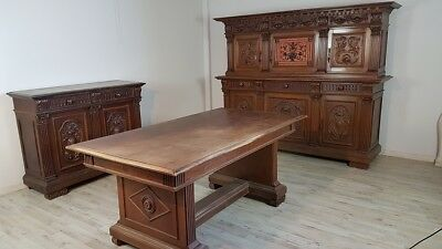 19th Century rare antique french renaissance walnut carved dining room set 9pc