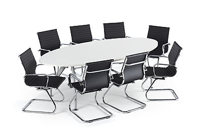 White Modern Boardroom Table With Chairs Bundle 1