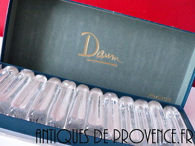 12 Vintage French Signed Daum Clear Crystal Knife Rests In Box Of Origin