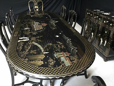 An Exquisite Asian, Hand Painted, Mother Of Pearl & Gold Leaf Dining Set