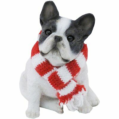Sandicast Brindle French Bulldog with Red and White Scarf Christmas Ornament