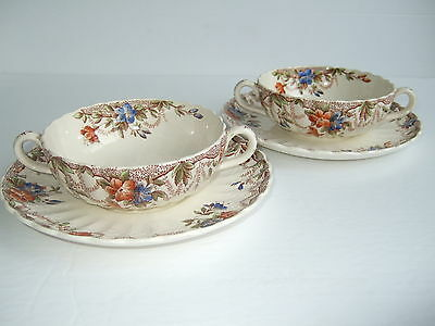 Pair Spode Copeland Sydney pattern 2 Handle Cream Soup Bowls with Saucers