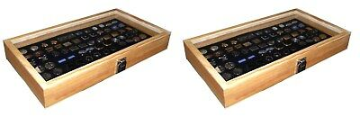 2 Natural Wood Glass Top Lid Black Cufflinks Jewelry Display Storage Box Cases