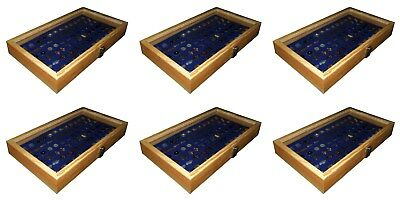 6 Natural Wood Glass Top Lid Blue Cufflinks Jewelry Display Storage Box Cases