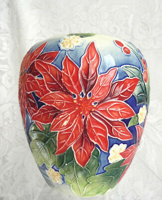 "OLD TUPTON WARE BULBOUS SHAPED VASE  6""/15cm TALL 'POINSETTIA'   PATT TW1287"