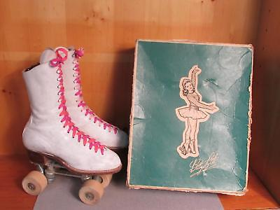 Vintage Betty Lytle White Leather Rollerskates Sz 6.5 Cleveland Gloria Nord Box