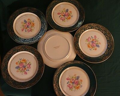Vintage Southern Potteries, Inc. Waranted Gold 22 Kt. Made in the USA Six Plates