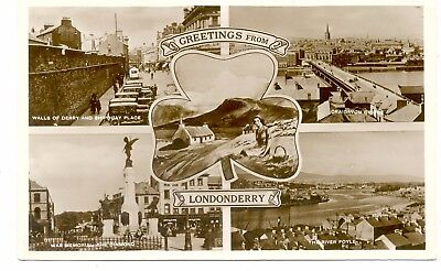 """""""IRELAND""""     LONDONDERRY    GREATINGS  FROM                  1930/50s"""