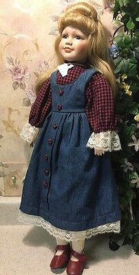 """Unknown Porcelain Bisque Cloth Body Doll Blonde Beautiful 24"""" Amanda In Dress"""