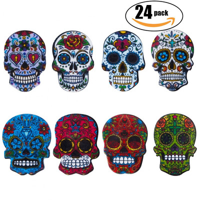 24-Pack Sugar Skull with Refrigerator Magnets Death's Head Style, About 1''