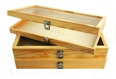 3 Natural Wood Glass Top Lid Keepsake Hobby Jewelry Display Storage Box Cases