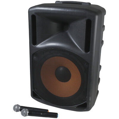 "Portable Active 15"" PA Speaker with Two Channel UHF Mics"