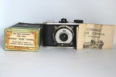Coronet Cub Camera 828 Film + Instr + Box Shutter Not Working Fair Condit (Used)