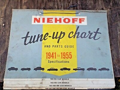 1955 ISSUE NIEHOFF TUNE-UP CHART and PARTS GUIDE 1941-1955 CARS TRUCKS