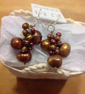 Cluster Earrings Coloured Fresh Water Pearls Brown Colour Fair Trade Gift