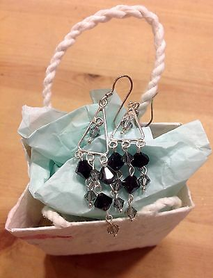 Earrings Crystal Dangle Black Colour Silver Hooks From Thailand Fair Trade Gift
