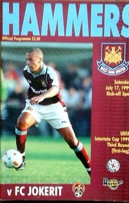 West Ham V Fc Jokerit 17/7/1999 Uefa Intertoto Cup