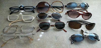 Lot of 11 pairs of VINTAGE Eyeglass FRAMES SUNGLASS FRAMES Parts