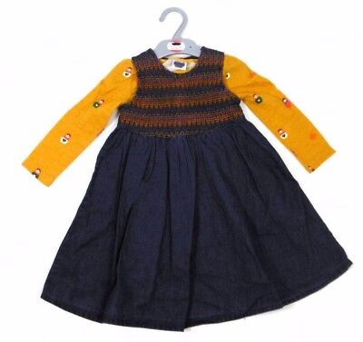 Ex Store Baby Girls Denim Blue Pinafore Dress & Mustard Yellow Top Outfit 18 24