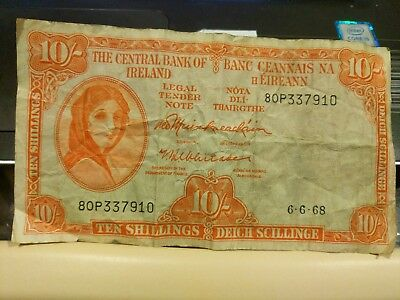 1968 6•6•68 Central Bank of Ireland 10 Ten Shillings Currency Banknote 80P337910
