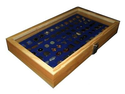 Natural Wood Glass Top Lid Blue Cufflinks Jewelry Display Storage Box Case