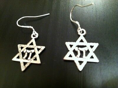 STAR OF DAVID CHAI (LIFE) EARRINGS on 925 STERLING SILVER HOOKS, JEWISH