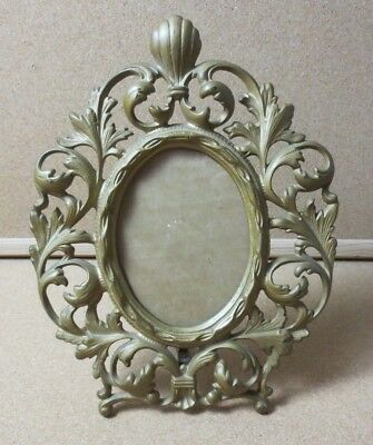 Victorian Brass Metal Art Nouveau Picture Photo Frame Ornate Oval Floral (PG1625