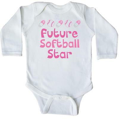 Inktastic Future Softball Star Long Sleeve Creeper Player Girls Baby Cute Pink