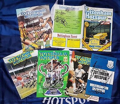 TOTTENHAM HOTSPUR 6 Programmes signed Ricky Villa Ossie Ardiles Gilzean Chivers+