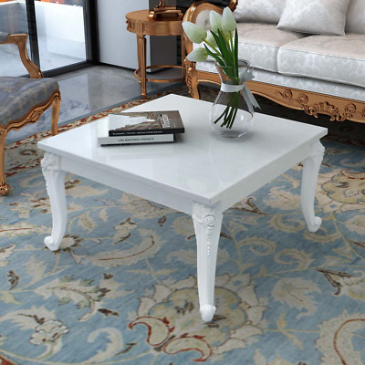 Shabby Cottage Chic White Square Coffee Table French Vintage Style Gloss Table