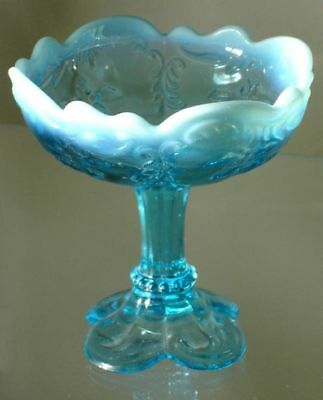 Northwood Victorian Blue Opalescent Intaglio Footed Jelly Compote