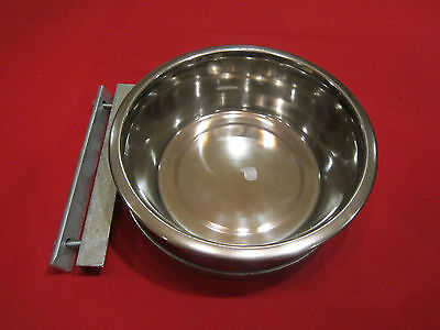Dog Bowl 9 Inch Stainless Steel And Bolt On Holder / Raised Dog Bowl
