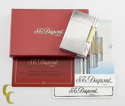S.T. Dupont Gatsby Lighter In Silver & Gold Plate Diamond Head Design