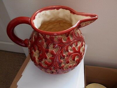 Beswick: very large vintage jug (pitcher) with unusual raised brown glazed patte