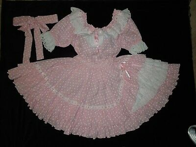 Pink Polka Dot And Lace Square Dance Dress