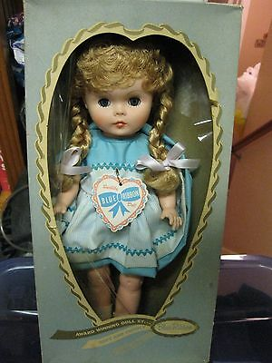 Vintage 1960 Blue Ribbon Novelty Vinyl Blonde Braided Hair Jointed Doll Mint 16""