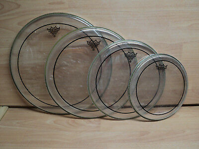 """4 x Remo Weatherking Pinstripe, Clear Drum Heads 10, 12, 14, 16"""" USED"""