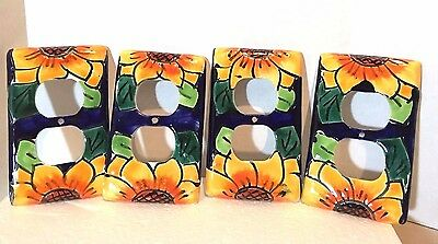 Talavera Mexican Pottery Light Plate Cover Socket Vibrant Colorful Lead Free