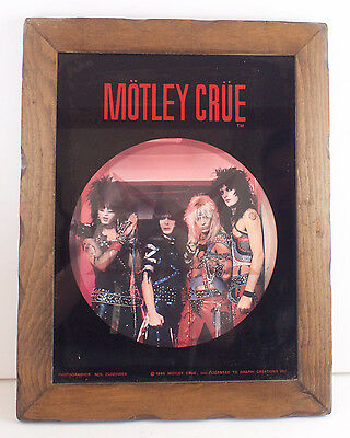 Vtg 1985 MOTLEY CRUE Shout At The Devil Carnival Etched GLASS Photo Poster 80s