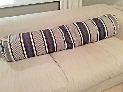 Vintage French Large Bolster Cushion Ticking Strip feather filled