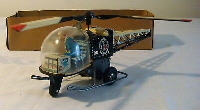 Suzuki & Edwards Japan Tin Friction POLICE HELICOPTER Toy RARE 50s PARTS/RESTORE