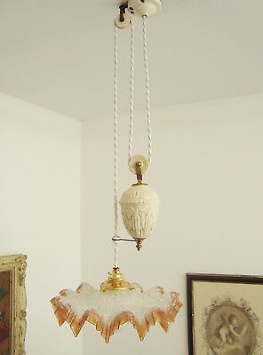 Lovely Rise And Fall Chandelier Light Lamp Mottled Shade Lustre Monte Baisse