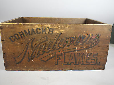 Antique 1800s Cormack's NUDAVENE FLAKES Oatmeal Wooden Advertising Crate V Rare